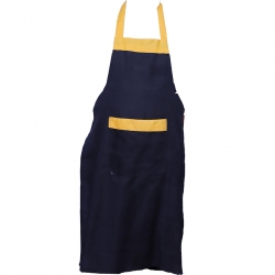 Cotton Kitchen Apron With Front Pocket Black and Yellow Color