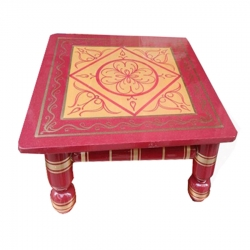 18 Inch X 18 Inch - Pooja Chowki - Wooden Stool - Decorative Wooden Showpiece - Red color