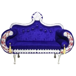 Blue Color - Regular - Couches - Sofa - Wedding Sofa - Maharaja Sofa - Wedding Couches - Made Of Wooden & Metal