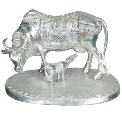 Kamadhenu With Nandi Murthi - Cow With Calf Idol - Made Of White Metal - Silver Color.