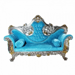 Udaipur Wedding Reception Sofa Made of Wood & Metal - Blue Color.