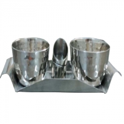 Stainless Steel - Soft Silver Plated Classic Bowl with Tray .
