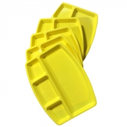 12 Inch - Divided-Dinner Plate - 4-Compartments Dinner Plate made of Food-Grade Virgin Plastic (Microwave-Safe) Yellow Color