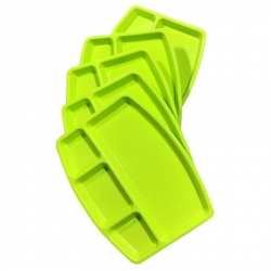 Divided-Dinner Plate with 4 compartments made of Food-Grade Virgin Plastic (Microwave-Safe) Green Color