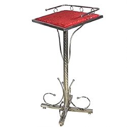 4 FT - Podium - Dias - Lectern Stand - Presentation Dias Made of Stainless Steel - Red Color.