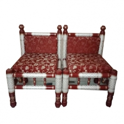 Big Sankheda Chair or Wooden Chair - Pair of 1 (2 Chairs) - Red Color