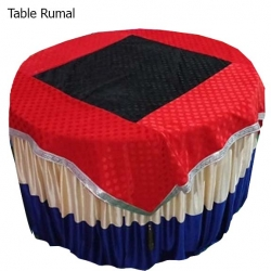 4 FT X 4 FT - Round Table Cover - Made of Premium Quality Brite Lycra - Top Velvet Fabric Cloth - Black & Red Color