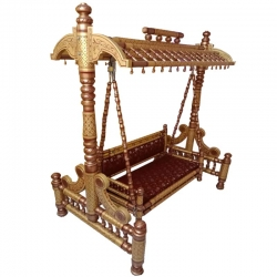 Sankheda Jhula - Wooden Swing - Made Of premium quality wood - Brown & Golden Color