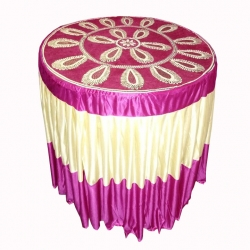 4 FT X 4 FT - Round Table Cover - Made of Premium Quality Brite Lycra - Top Velvet Fabric Cloth - Pink & Peach Color