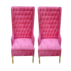 Pink Color - Mandap Chair - Wedding Chair - Varmala Chair Set - Made of Wooden & Velvet - Pair of Chair ( 2 Chair )