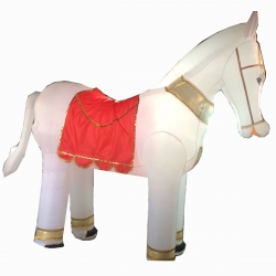 White Color -  Horse - Inflatable - Ghoda - Airblown Inflatable - Made of PVC Vinyl comes with a Blower Machine