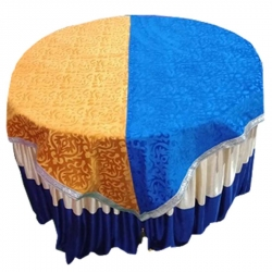 4 FT X 4 FT - Round Table Cover - Made of Premium Quality Brite Lycra - Top Velvet Fabric Cloth - Blue & Yellow Color
