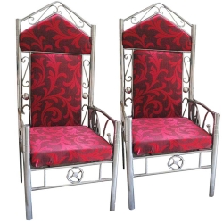 Wedding Chair - Varmala Chair - Made of Stainless Steel - Pink Color.