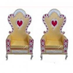 Golden Color - Wedding Chair - Varmala Chari Set - Mandap Chair - Made Of Wooden & Metal - 1 Pair ( 2 Chair )