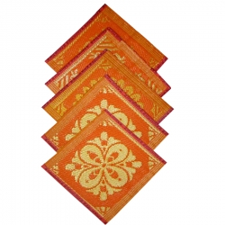 (1.5 FT X 1.5 FT)PVC Polyester Aasan Mat -Orange & Golden Color.