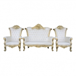 White Color - Heavy - Udaipur - Rajesthani - Jaipuri - Sofa Set -Wedding Sofa Set - Couches -Made Of Wooden & Brass Metal -  1 Sofa & 1 Pair of Chair ( 2 Chair )