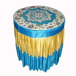 4 FT X 4 FT - Round Table Cover - Made of Premium Quality Brite Lycra - Top Velvet Fabric Cloth - Blue & Golden Color