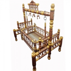 Rajwadi - Wooden Cradle - Sankheda Palna - Brown & Golden Color