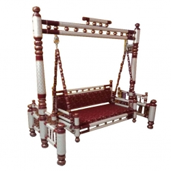 Sankheda - Wooden Jhula - Swing - Made Of teak wood - White & Red Color