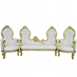 White Color - Heavy - Udaipur - Rajesthani - Jaipuri - Sofa Set - Wedding Sofa Set - Couches - Made Of Wooden & Brass Metal - Sofa (1 Piece ) & Chair ( 2 Pieces )