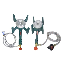Set of 2 Gas Stove - Gas Bhatti - Canteen Big & Small Burner with regulator and pipe - Iron Body