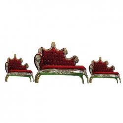 Jaipur Design Sofa - Maharaja Style Sofa - Made Of Wood And Metal - Red Color