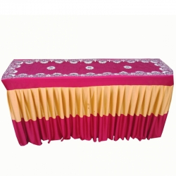 18 Inch X 72 Inch - Designer Table Cover - Table Top for Rectangular Table - Made Of Brite Lycra Featuring Fine Work Of Embroidery on Top - Multi Color