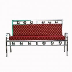 3-Seater Stainless-Steel - Traditional Floral Print Design Sofa - Red Color