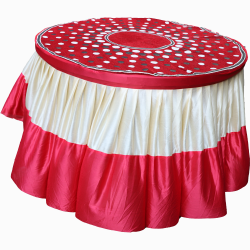 4 FT X 4 FT - Designer Table Cloth - Table Cover For Round Table - Made Of Premium Quality Lycra Featuring Fine Work Of Embroidery - Red & Cream Color