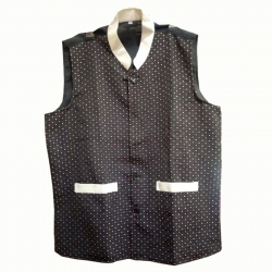 Waiter - Bearer - Bartender Coat Or Vest - Kitchen Uniform Or Apparel For Men - Full-Neckline - Sleeve-less - Made Of Premium Quality Polyester & Cotton - Black & White Color (Available size 38 , 40 , 42 , 44 , 46 , 48)