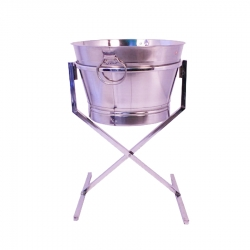 Dustbin Stand With Dustbin - Made Of Stainless Steel.