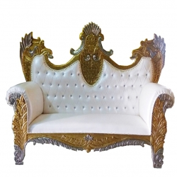 White Color - Udaipur - Rajasthani - Heavy - Couches - Sofa - Wedding Sofa - Wedding Couches - Made Of Wooden & Metal