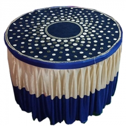 4 FT X 4 FT - Designer Table Cloth - Table Cover For Round Table - Made Of Premium Quality Lycra Featuring Fine Work Of Embroidery - Blue & Cream Color