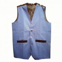 Waiter - Bearer - Bartender Coat Or Vest - Kitchen Uniform Or Apparel For Men - Full-Neckline - Sleeve-less - Made Of Premium Quality Polyester & Cotton - Grey Color (Available size 38 , 40 , 42 , 44 , 46 , 48)