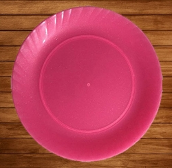 12 Inch Dinner Plates - Made of Food-Grade Regular Plastic Material - Leher Round Shape - Pink Plate.