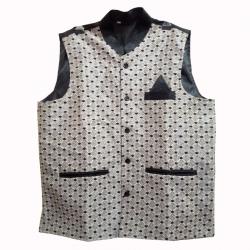 Waiter - Bearer - Bartender Coat Or Vest - Kitchen Uniform Or Apparel For Men - Full-Neckline - Sleeve-less - Made Of Premium Quality Polyester & Cotton - White & Black Color (Available size 38 , 40 , 42 , 44 , 46 , 48)