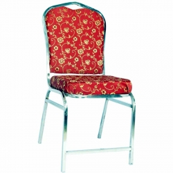 Banquet Chairs Made of Stainless Steel - Floral Design - Red Color.