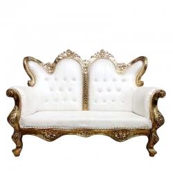 White Color - Udaipur - Rajasthani -  Jaipuri -  Heavy - Premium - Couches - Sofa - Wedding Sofa - Maharaja Sofa - Wedding Couches - Made of Wooden & Metal