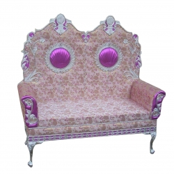 Wedding Reception Sofa - Maharaja Sofa - Made of Wood & Metal - Beige & Purple Color.