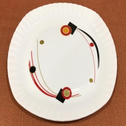 12 Inches Dinner Plates with Printed design - Made of Food Grade Virgin Plastic - White Color - 180 Gm