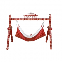 Baby Cradle - Sankheda Palna - Made of premium quality wood - Red Color