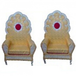 Yellow Color - Wedding Chair - Varmala Chari Set - Mandap Chair - Made Of Wooden & Metal - 1 Pair ( 2 Chair )