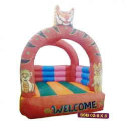 Party attraction Inflatable Bouncy - Outdoor & Indoor Bouncy - Commercial Grade Bouncy with Blower - 8 feet x 8 feet - Made of  100% PVC
