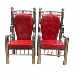Wedding Chair - Steel Chair - Varmala Chair - Made Of Stainless Steel - Pair Of 1 (2 Chairs) - Red Color