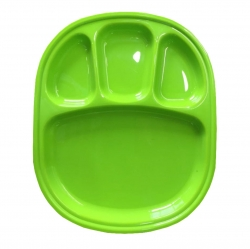 4 -Compartments Divided-Dinner Plate - Made from virgin plastic-Green color