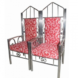 Red Color - Wedding Chair - Varmala Chari Set - Mandap Chair - Made Of Wooden & Metal - 1 Pair ( 2 Chair )