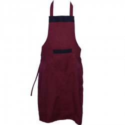 Cotton Kitchen Apron With Front Pocket Maroon Color