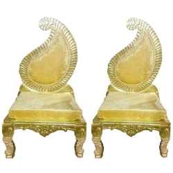 Golden Color - Udaipur - Heavy - Premium - Mandap Chair - Wedding Chair - Varmala Chair Set - Chair Set - Made of Wooden & Metal - 1 Pair ( 2 Chair )