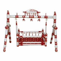 Wooden Cradle - Sankheda Palna - Naming ceremony function accessory - Red & Silver color