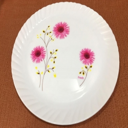 13 Inch Heavy Dinner Plates - Printed Plates - Made Of Food Grade Virgin Plastic Material - Multi Color - 170 GM